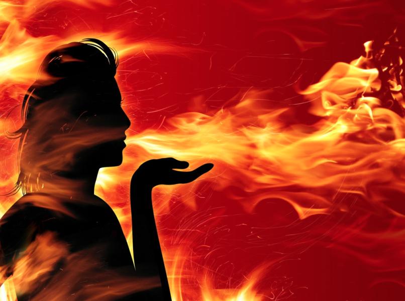 Woman Fire Blow Kiss