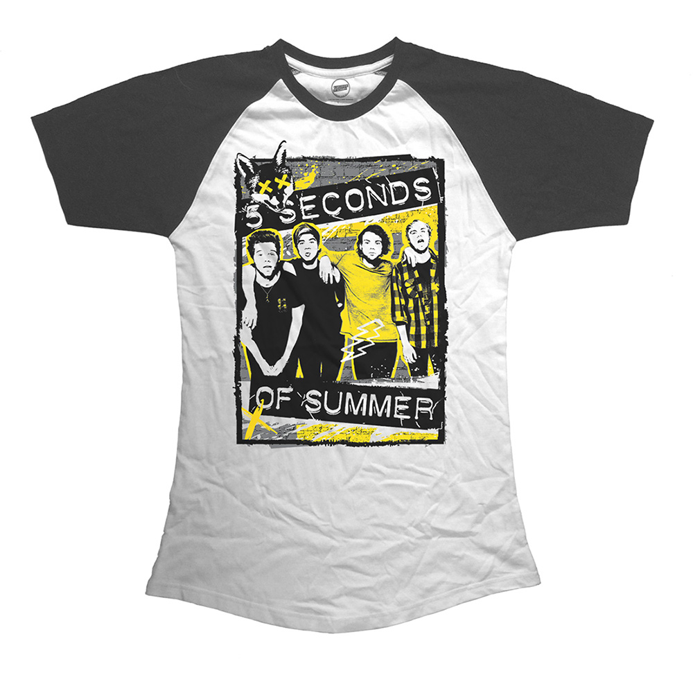 f211db4e 5 Seconds of Summer Ladies Raglan Splatter T-Shirt - PUNX.UK