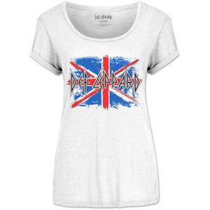 b21218ef638d48 Def Leppard Ladies Union Jack (Scoop Neck) T-Shirt