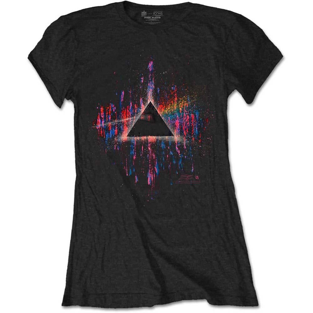 a8022352 Pink Floyd Ladies Dark Side of the Moon Pink Splatter T-Shirt - PUNX.UK